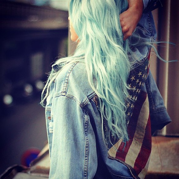 blue dip dyed jacket pretty awesome beautiful follow follow me lol omg hair