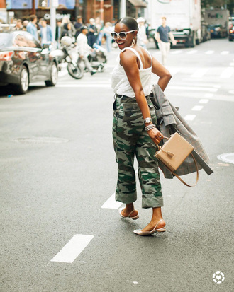 bag flats tumblr nude bag boxed bag top white top pants camouflage sunglasses white sunglasses