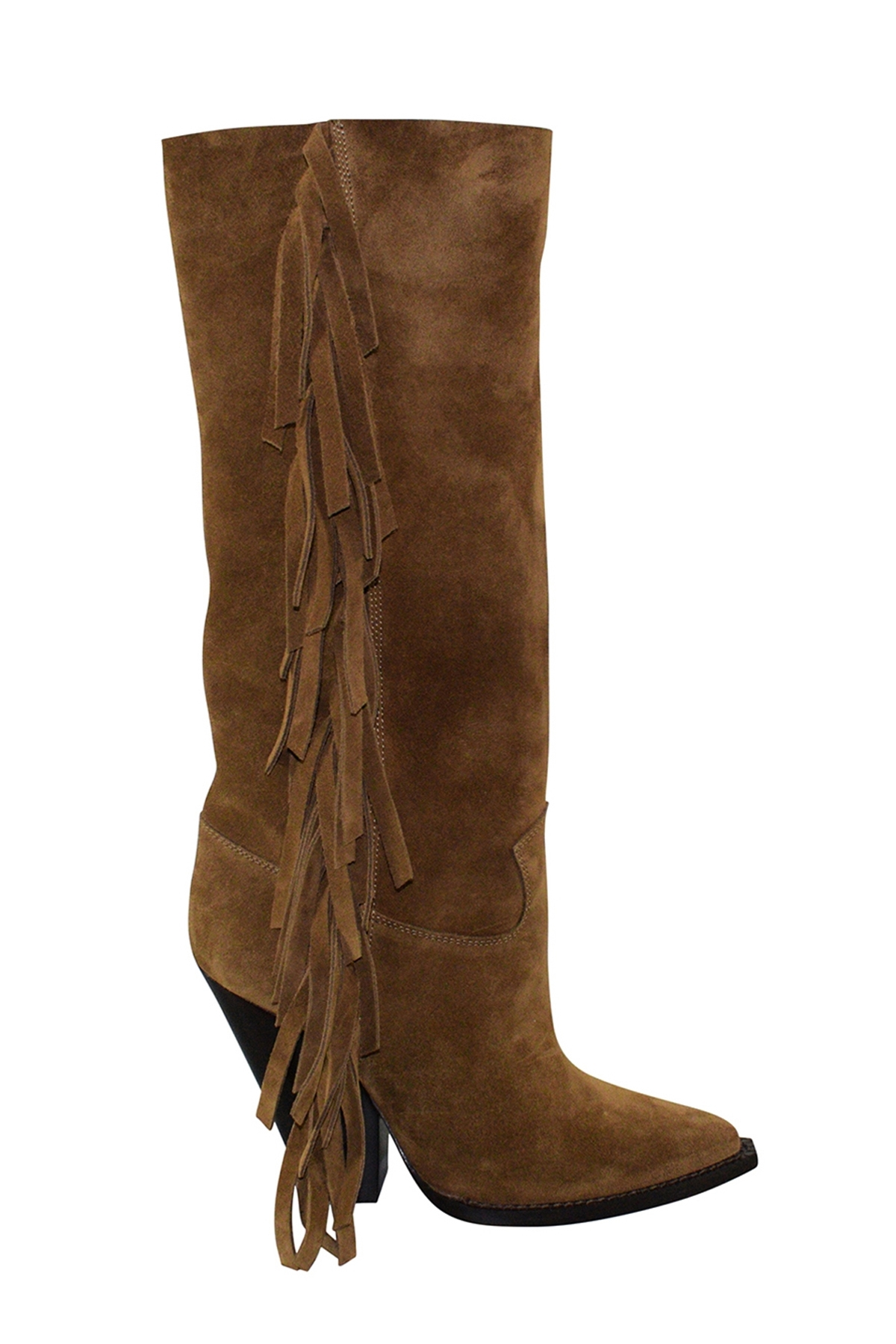 Luxury shoes for women - Saint Laurent fringes boots in camel suede