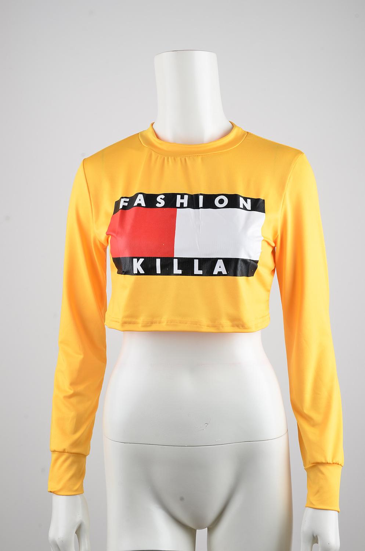 2016 Fashion Women Short T shirt Long Sleeve Round Neck Letter Print Casual Women's T Shirts on Aliexpress.com | Alibaba Group