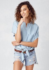 blouse,tencel top,tencel,denim top,denim,tie front blouse,short sleeve blouse,mandarin collar top,mandarin collar,pocket blouse,tie front,summer,summer top,boho,boho top,bohemian