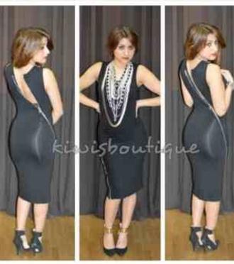 dress black dress zip dress boutique kiwisboutique midi dress little black dress zipper dress zip bodycon black sexy dress cute dress club dress clubwear