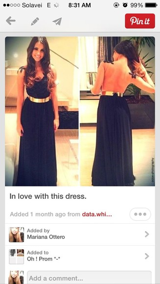 dress golden belt Belt black backless long black dress see through back