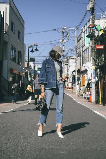 the chriselle factor blogger jacket jeans shoes hat bag