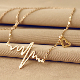 jewels pendant necklace heart waves women jewelry fashion vibe gold