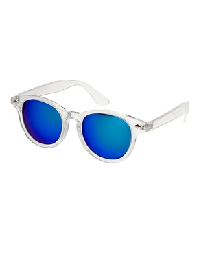 Asos preppy wayfarer sunglasses with clear frame and colour mirror lens at asos