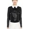 Contrasting collar nappa leather jacket