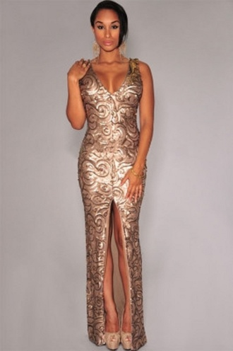 dress wots-hot-right-now maxi maxi dress gold gold sequins front split  dress plunge neckline sexy sexy party dresses cocktail dress evening dress formal dress special occasion dress