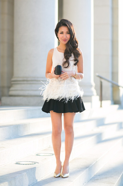 wendy's lookbook blogger feathers white top skater skirt black skirt top shoes bag jewels