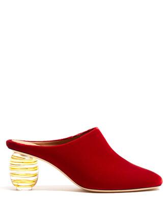 mules velvet red shoes