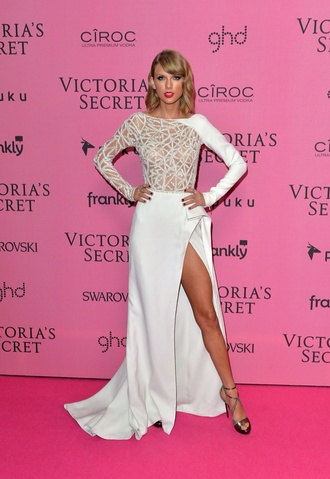 dress gown taylor swift dress taylor swift white white dress victoria's secret shoes