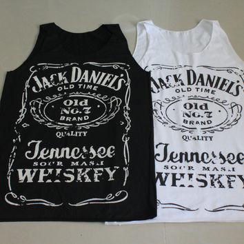 Brand new Women Jack Daniels tank top tee t-shirt black and white ... S-M Size on Wanelo