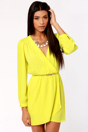 Cute Neon Yellow Dress - Wrap Dress - Long Sleeve Dress - $50.00