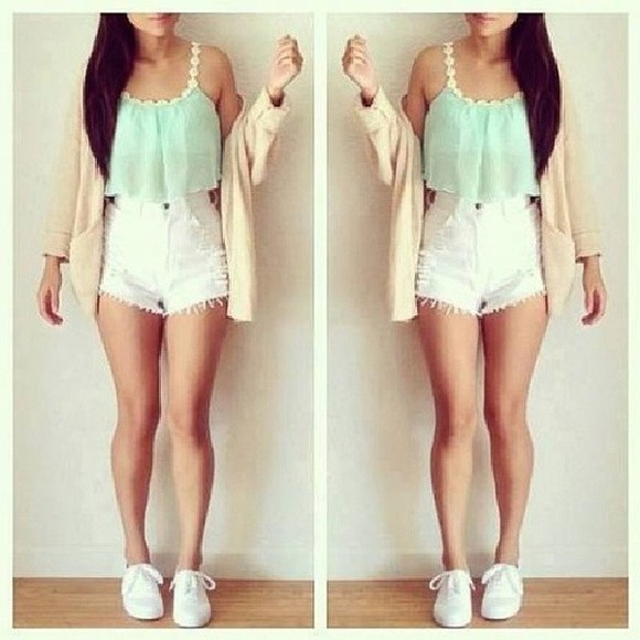tank top mint turquoise top crop tops shorts blouse