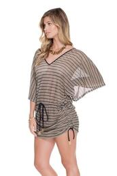 swimwear,stylish v-neckline,adjustable waist and sides,semi see through,bikini luxe,sexy beach cover up,bikiniluxe