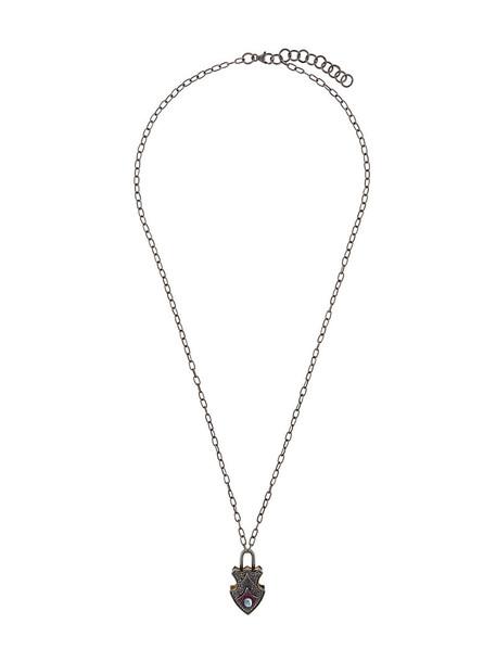 Gemco women necklace pendant silver grey metallic jewels