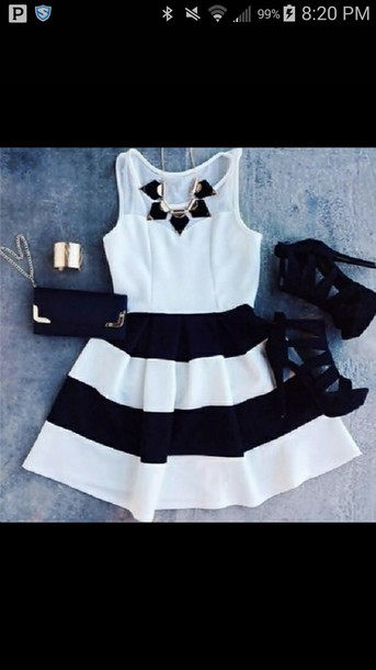 dress black and white dress heels jewelry purse bag skirt