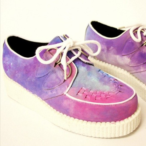 multicolor creepers plateform shoes white shoes wedge heel shoe galaxy print purple pink blue strings dreamy