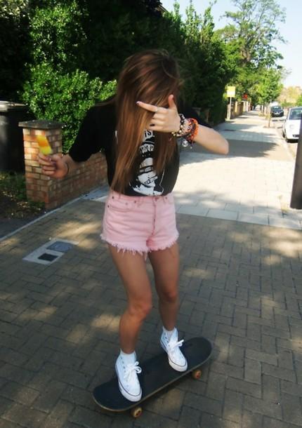 shorts High waisted shorts pink tumblr tumblr girl shirt