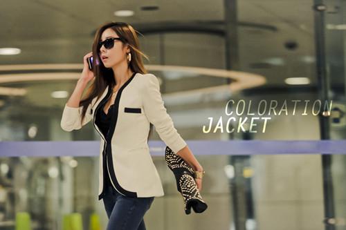 neu korea business damen blazer anzug jacke freizeitblazer schwarz wei gr s m l ebay. Black Bedroom Furniture Sets. Home Design Ideas