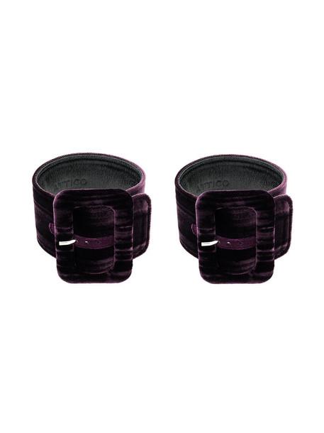 cuff women cuff bracelet leather velvet purple pink jewels