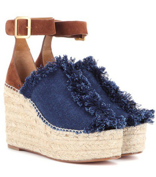 Chloe denim espadrilles suede blue shoes