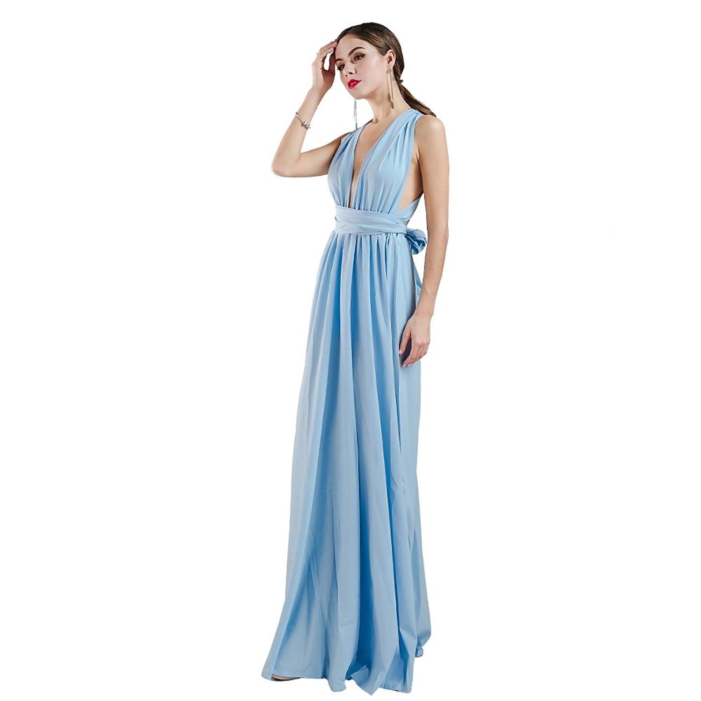 Women Sexy V Neck Sleeveless Long Halter Party Dress at Amazon ...