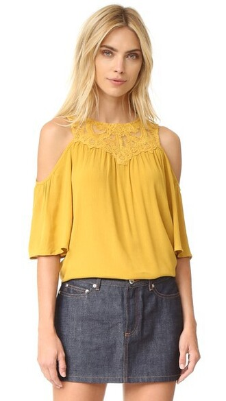 blouse cold mustard top