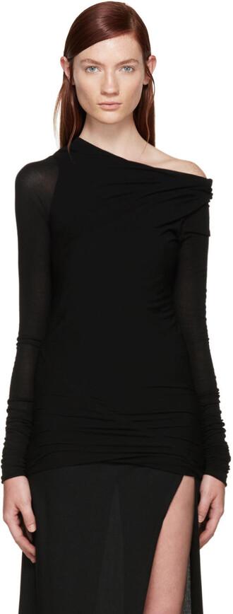 t-shirt shirt asymmetrical black top