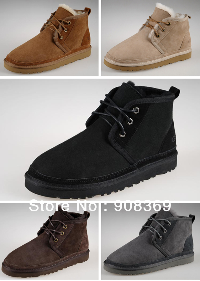 Int'l brand natural suede sheepskin fur,sheep wool lining 3236 snow boots for men,winter warm ankle boot  free shipping