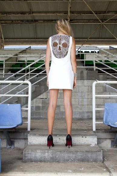 skull sleeveless back party dress hollow dress