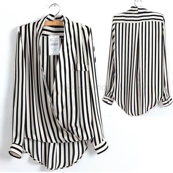 Casual Women S Black White Striped Chiffon Blouse Tops Long Sleeve