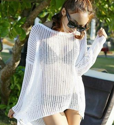 Crochet Knit Long Sleeve Cover Up
