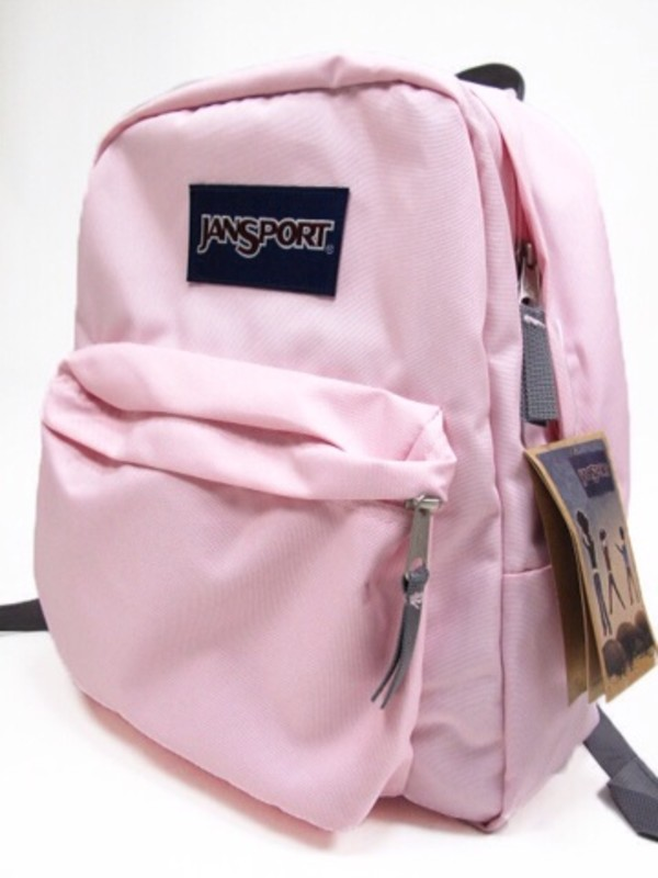 Bag: pale, jansport, light pink, light pink, pink, backpack ...