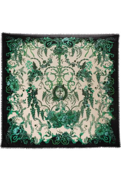 Fendi scarf silk wool green