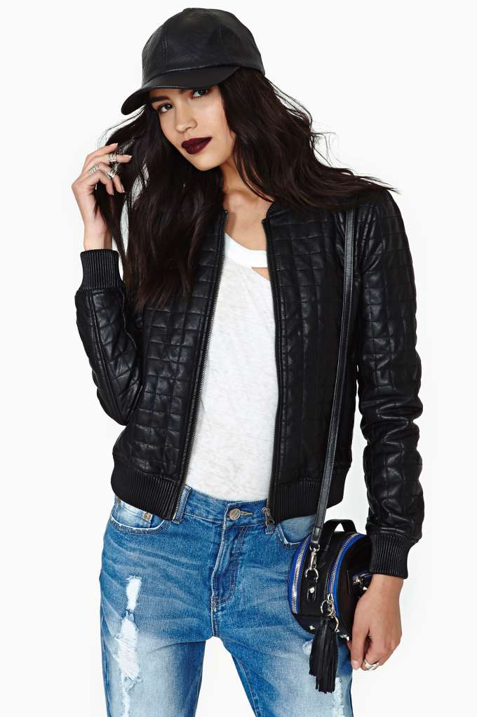 Rebellion Faux Leather Bomber in  Clothes Sale at Nasty Gal