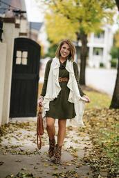 something delightful,blogger,dress,jacket,belt,shoes,bag,jewels,fall outfits,knitted dress,vest,gucci belt