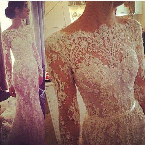 Aliexpress.com : Buy Stunning Mermaid Lace Wedding Dresses Custom Made Floor Length Long Sleeves Bridal Dresses 2014 from Reliable dresses evening dresses suppliers on 27 Dress