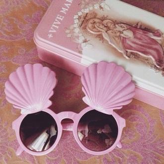 sunglasses pink shell kawaii