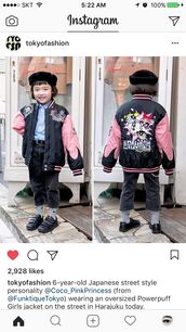 jacket,the powerpuff girls,oversized jacket,cartoon,pink,black,sukajan jacket