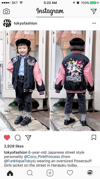 jacket the powerpuff girls oversized jacket cartoon pink black sukajan jacket