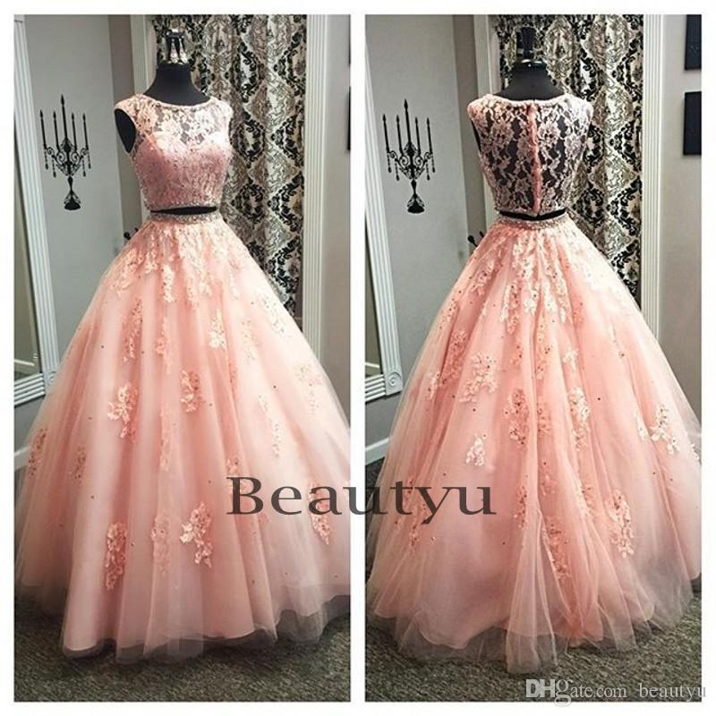 564e823a18 Vintage Blush Pink Two Pieces Prom Dresses Long 2017 Beads Lace Appliques Ball  Gown Quinceanera Dress ...