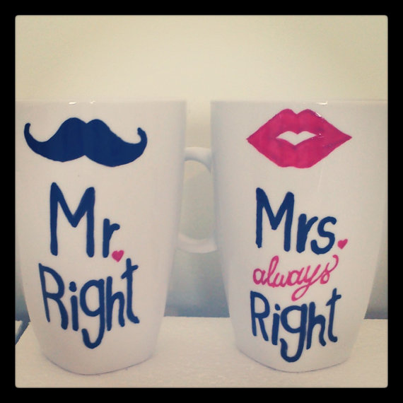 Latte mug couple set of 2 Custom by OneCreativeButterfly on Etsy