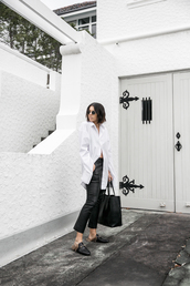 modern legacy,blogger,shirt,pants,shoes,bag,sunglasses,white shirt,loafers,black pants,tote bag,black bag