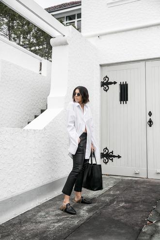 modern legacy blogger shirt pants shoes bag sunglasses white shirt loafers black pants tote bag black bag