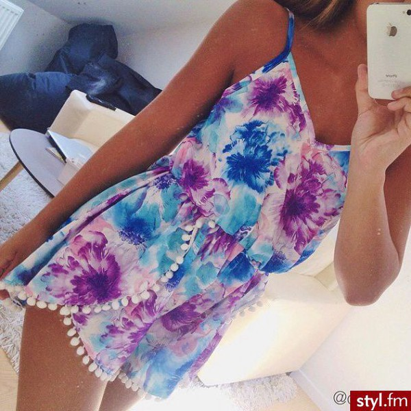 romper floral romper floral romper floral flowers blue purple pom poms dress jumpsuit