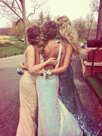 dress prom dress blue sequin low back