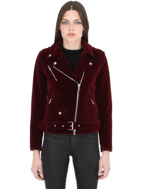best authentic 980ad 466b9 ROUTE DES GARDEN Slim Fit Velvet Biker Jacket in red