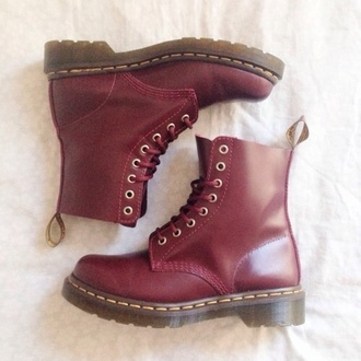 shoes red dr marten boots dr. martin doc martens drmartens leather burgundy boots