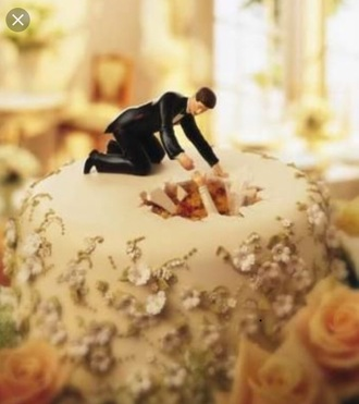 "home accessory ""she fell"" bride in hole cake topper wedding accessories funny"